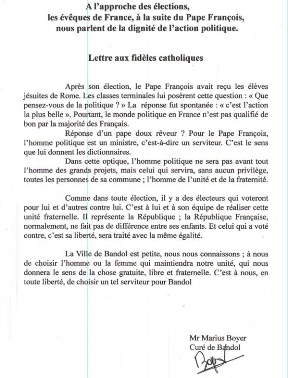 lettre aux catholiques