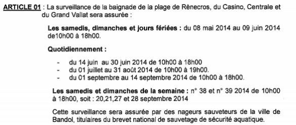 horaires plages